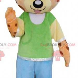 Orange teddy bear mascot and yellow tiger in colorful outfit -