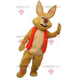 Obří hnědý maskot králíka s vestou - Redbrokoly.com