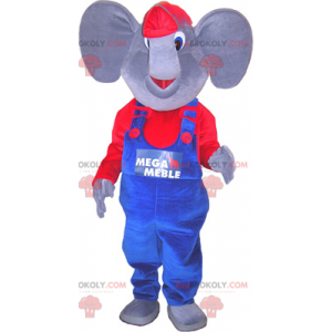Maskot slona oblečený v modré a červené barvě - Redbrokoly.com
