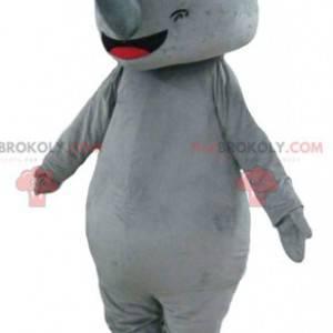 Grande mascote rinoceronte cinza gigante e impressionante -