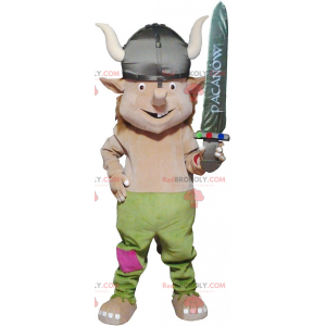 Realistic viking mascot with a helmet and a sword -