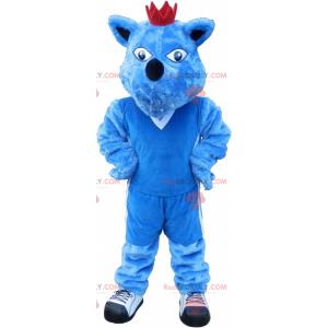 Modrý psí maskot s korunou. Modré zvířecí maskot -