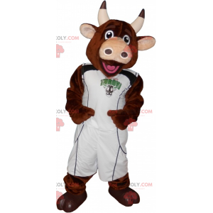 Brown cow mascot with a basketball player outfit -