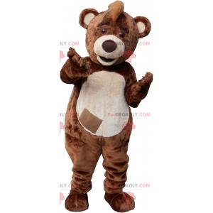Großer brauner und beiger Bärenmaskottchenplüsch -