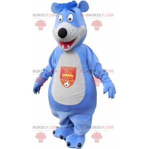 Duży niebieski i biały miś maskotka - Redbrokoly.com