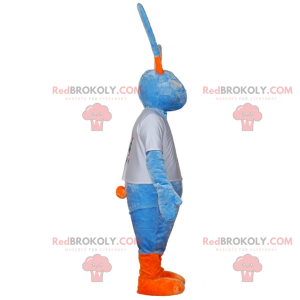 Stor blå og oransje kaninmaskot med store ører - Redbrokoly.com