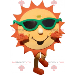 Yellow and orange sun mascot with sunglasses - Redbrokoly.com