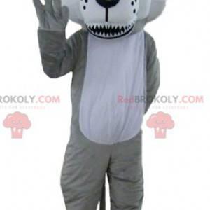 Graues und weißes Wolfsmaskottchen mit blauen Augen -