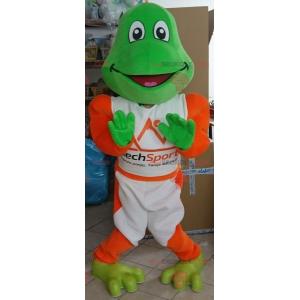 Green frog mascot dressed in white and orange - Redbrokoly.com