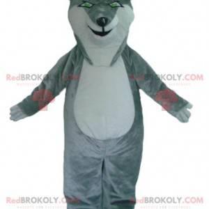Grå og hvit ulvemaskot med grønne øyne - Redbrokoly.com
