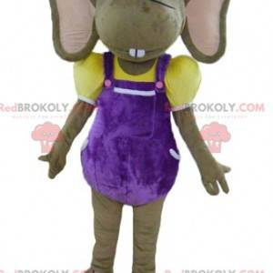 Brown and pink mouse mascot in colorful outfit - Redbrokoly.com