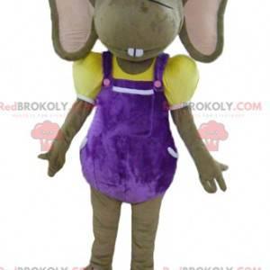 Hnědý a růžový myš maskot v barevné oblečení - Redbrokoly.com