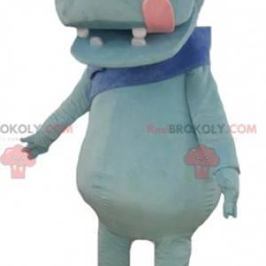 Mascote hipopótamo azul com uma grande língua rosa -