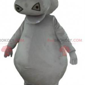 Mascote hipopótamo cinza grande e gordo - Redbrokoly.com