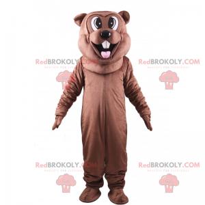 Mascota de castor marrón sacando la lengua - Redbrokoly.com