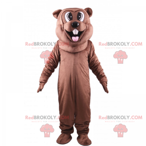 Mascote castor castanho a mostrar a língua - Redbrokoly.com