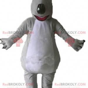 Gigantisk og imponerende maskot med grå og hvit bjørn -