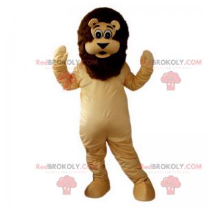 Löwenmaskottchen mit einer braunen Mähne - Redbrokoly.com