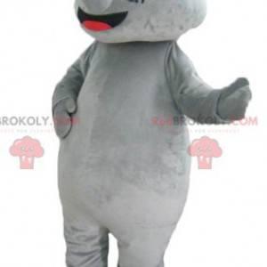 Mascote rinoceronte cinza gigante e impressionante -