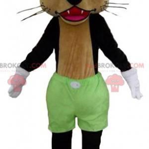 Maskot černá a hnědá vlčí kočka se zelenými šortkami -