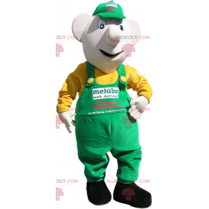 Snowman mascot with cap and overalls - Redbrokoly.com