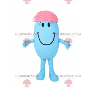 Smiling snowman mascot with pink cap - Redbrokoly.com