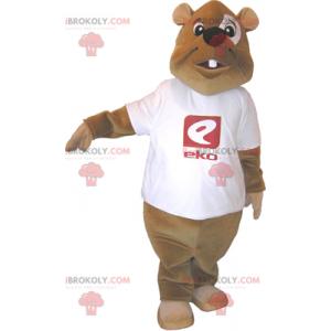 Mascota de castor con camiseta - Redbrokoly.com