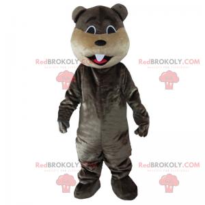 Mascote castor castanho escuro - Redbrokoly.com
