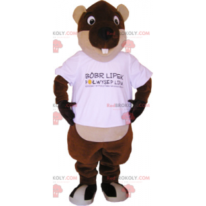 Beaver mascot round eyes - Redbrokoly.com