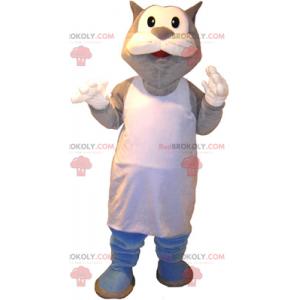 Maskot kočka s bílou zástěrou - Redbrokoly.com