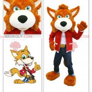Orange fox mascot dressed in jeans - Redbrokoly.com
