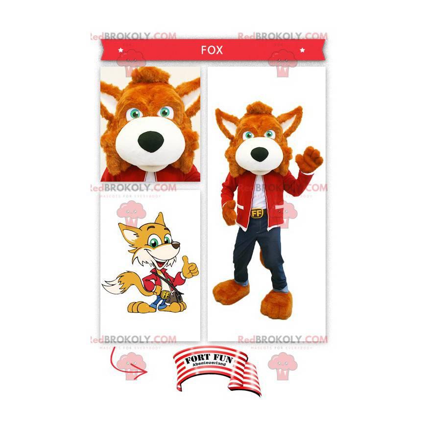 Pomarańczowy lis maskotka ubrany w dżinsy - Redbrokoly.com