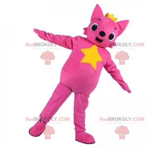 Růžová kočka maskot s hvězdou - Redbrokoly.com