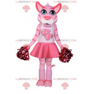 Maskot růžová kočka oblečený jako bambulí dívka - Redbrokoly.com