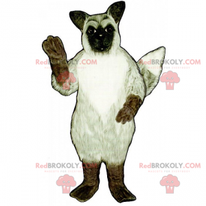 White dog mascot with black spots in the left eye -