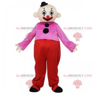 Clown-Maskottchen mit einem kleinen schwarzen Hut -