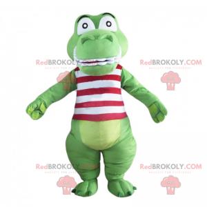 Crocodile mascot with red striped shirt - Redbrokoly.com