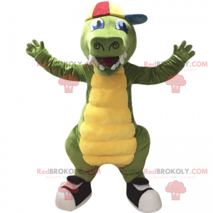 Maskot krokodýla s čepicí a teniskami - Redbrokoly.com