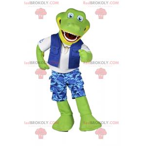 Maskot krokodýla oblečený jako rybář - Redbrokoly.com