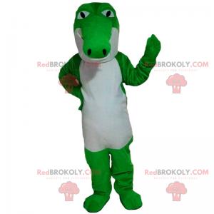 Neonově zelený a bílý krokodýlí maskot - Redbrokoly.com