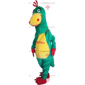 Dvoubarevný maskot žlutého a zeleného dinosaura - Redbrokoly.com