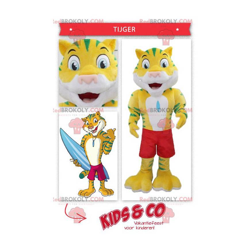 Žlutý a zelený tygří maskot s plaveckými šortkami -