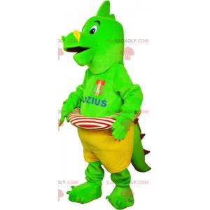 Grønn dinosaur maskot med bøyen - Redbrokoly.com