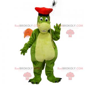 Dračí maskot s červeným baretem - Redbrokoly.com