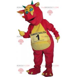 Růžový a žlutý drak maskot - Redbrokoly.com