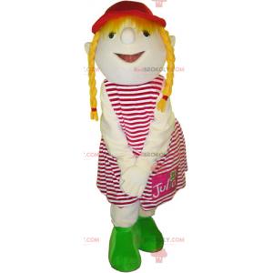 Maskottchen des kleinen Mädchens mit Steppdecken -