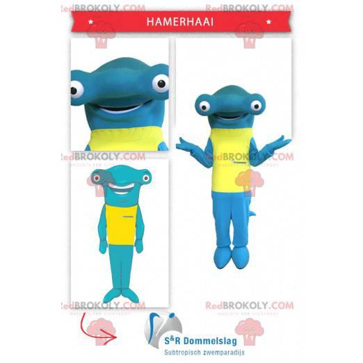 Hammerhead shark mascot with a yellow t-shirt - Redbrokoly.com