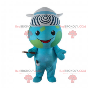 Earth mascot with a hat in the shape of an airplane -