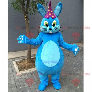 Blue rabbit mascot with star hat - Redbrokoly.com