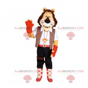 Maskotka lwa w stroju poszukiwacza przygód - Redbrokoly.com